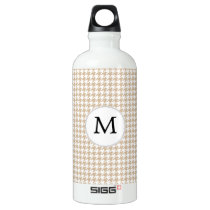 Personalized Monogram Tan houndstooth Pattern Water Bottle