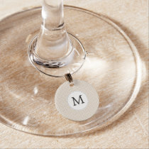 Personalized Monogram Tan houndstooth Pattern Wine Glass Charm