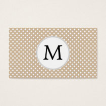 Personalized Monogram Tan polka Dots Pattern Business Card