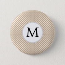 Personalized Monogram Tan polka Dots Pattern Button