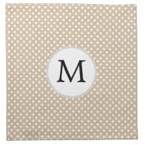 Personalized Monogram Tan polka Dots Pattern Cloth Napkin