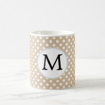 Personalized Monogram Tan polka Dots Pattern Coffee Mug