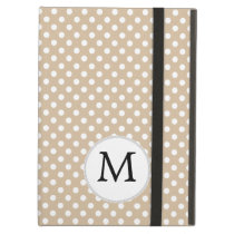 Personalized Monogram Tan polka Dots Pattern Cover For iPad Air