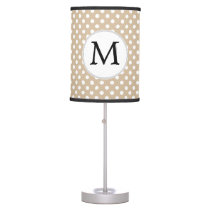 Personalized Monogram Tan polka Dots Pattern Desk Lamp