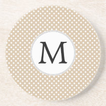 Personalized Monogram Tan polka Dots Pattern Drink Coaster