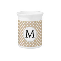 Personalized Monogram Tan polka Dots Pattern Drink Pitcher
