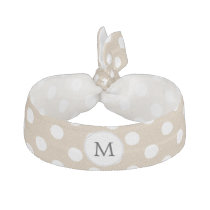 Personalized Monogram Tan polka Dots Pattern Hair Tie