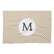 Personalized Monogram Tan polka Dots Pattern Hand Towels