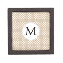 Personalized Monogram Tan polka Dots Pattern Jewelry Box