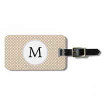 Personalized Monogram Tan polka Dots Pattern Luggage Tag