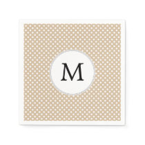 Personalized Monogram Tan polka Dots Pattern Paper Napkin