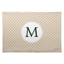 Personalized Monogram Tan polka Dots Pattern Placemat
