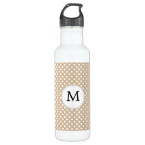 Personalized Monogram Tan polka Dots Pattern Stainless Steel Water Bottle