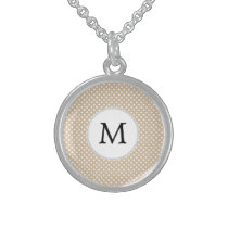 Personalized Monogram Tan polka Dots Pattern Sterling Silver Necklace