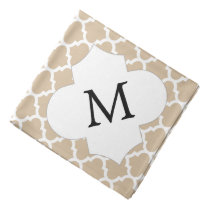 Personalized Monogram Tan Quatrefoil Pattern Bandana
