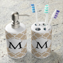 Personalized Monogram Tan Quatrefoil Pattern Bath Set