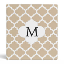 Personalized Monogram Tan Quatrefoil Pattern Binder