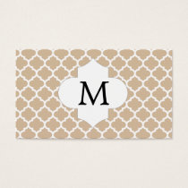 Personalized Monogram Tan Quatrefoil Pattern Business Card