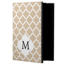Personalized Monogram Tan Quatrefoil Pattern Case For iPad Air