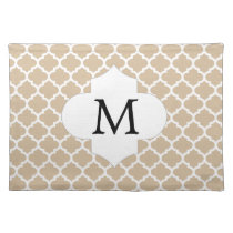 Personalized Monogram Tan Quatrefoil Pattern Cloth Placemat