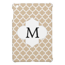 Personalized Monogram Tan Quatrefoil Pattern iPad Mini Cases
