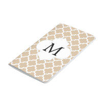 Personalized Monogram Tan Quatrefoil Pattern Journal