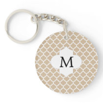 Personalized Monogram Tan Quatrefoil Pattern Keychain