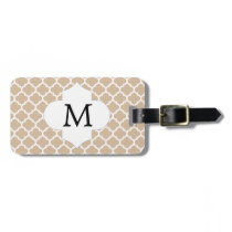 Personalized Monogram Tan Quatrefoil Pattern Luggage Tag