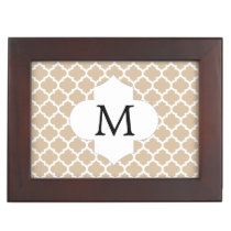 Personalized Monogram Tan Quatrefoil Pattern Memory Box