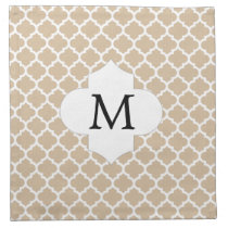 Personalized Monogram Tan Quatrefoil Pattern Napkin