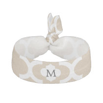 Personalized Monogram Tan Quatrefoil Pattern Ribbon Hair Tie