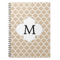 Personalized Monogram Tan Quatrefoil Pattern Spiral Notebook