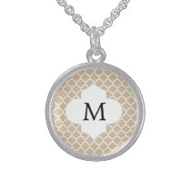 Personalized Monogram Tan Quatrefoil Pattern Sterling Silver Necklace