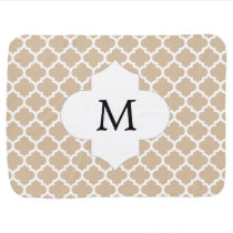 Personalized Monogram Tan Quatrefoil Pattern Swaddle Blanket
