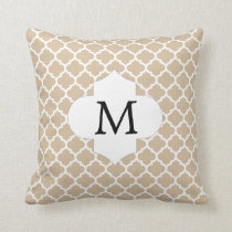 Personalized Monogram Tan Quatrefoil Pattern Throw Pillow