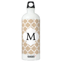 Personalized Monogram Tan Quatrefoil Pattern Water Bottle