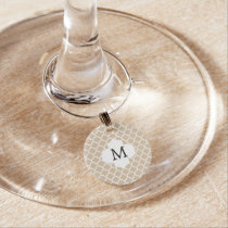 Personalized Monogram Tan Quatrefoil Pattern Wine Glass Charm