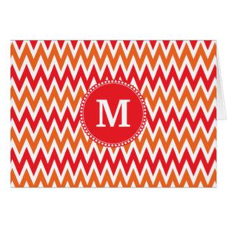 Personalized Monogram Tangerine Orange Red Chevron Card