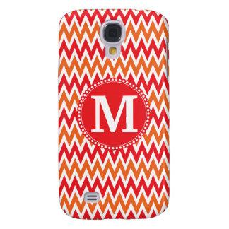 Personalized Monogram Tangerine Orange Red Chevron Galaxy S4 Case