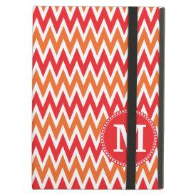 Personalized Monogram Tangerine Orange Red Chevron iPad Covers