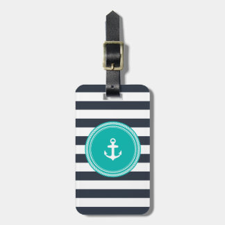 Personalized Monogram Teal and Navy Nautical Luggage Tag