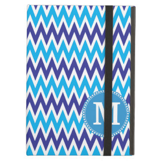 Personalized Monogram Teal Blue Chevron ZigZags Case For iPad Air
