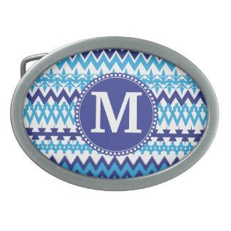 Personalized Monogram Teal Blue Tribal Chevron Belt Buckle