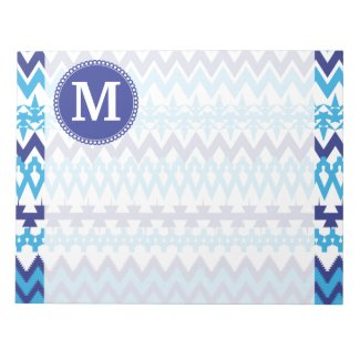 Personalized Monogram Teal Blue Tribal Chevron Note Pads