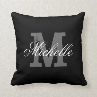 Personalized monogram throw pillow | Classy black