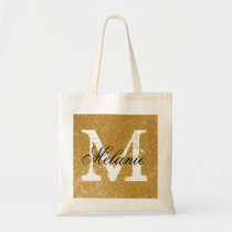 Personalized monogram tote bag | faux gold glitter