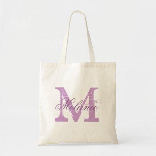 Personalized monogram tote bag | lavender purple tote bag