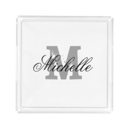 Personalized monogram transparent serving tray