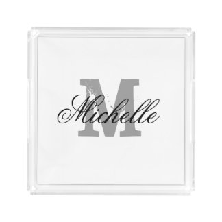 Personalized monogram transparent serving tray square serving trays