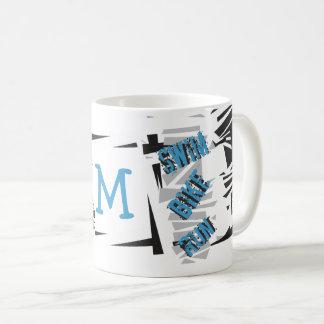 Personalized Monogram Triathlon SWIM BIKE RUN Coffee Mug